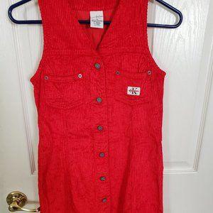 NWOT Calvin Klein Jeans Corded Red Jumper (Medium)